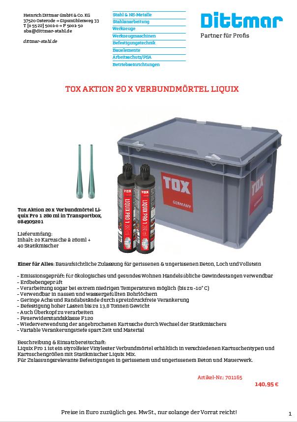 Tox Aktion 20 x Verbundmörtel Liquix